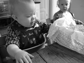Hugo eating bread