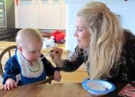 Hugo eating Christmas porridge