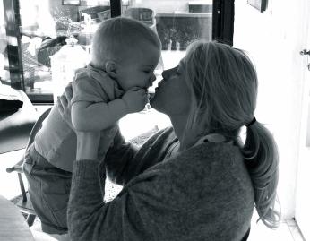 Hugo kissing Mom