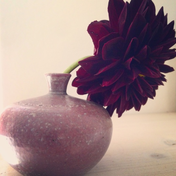 Stor blomma i liten vas