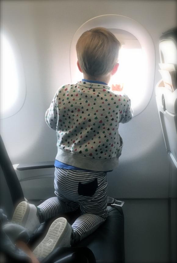 Hugo tittat på flygplan